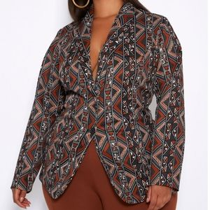 Ashley Stewart Tribal Print Boyfriend Blazer